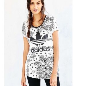 Adidas Paisley Print Pattern Scoop Neck T-Shirt